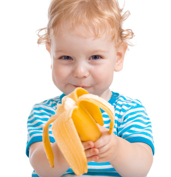 Happy kid or child eating banana isolated on white